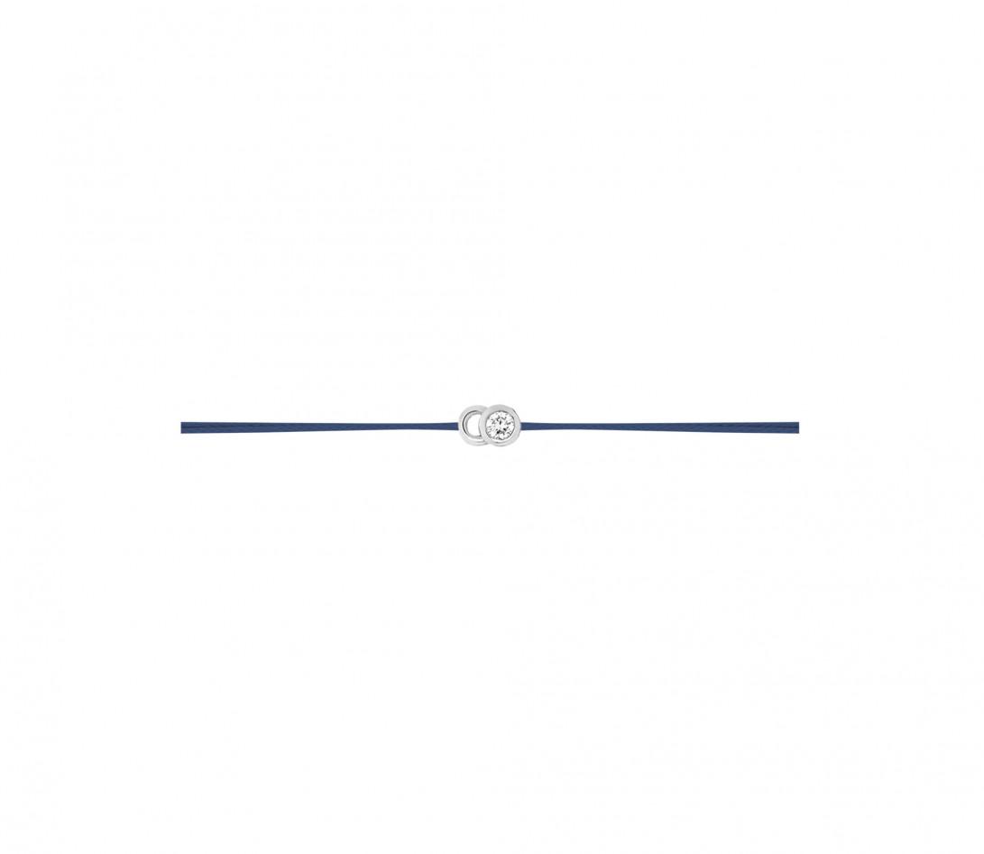 Bracelet cordon LET'S COMMIT bleu Courbet en or blanc - Profil