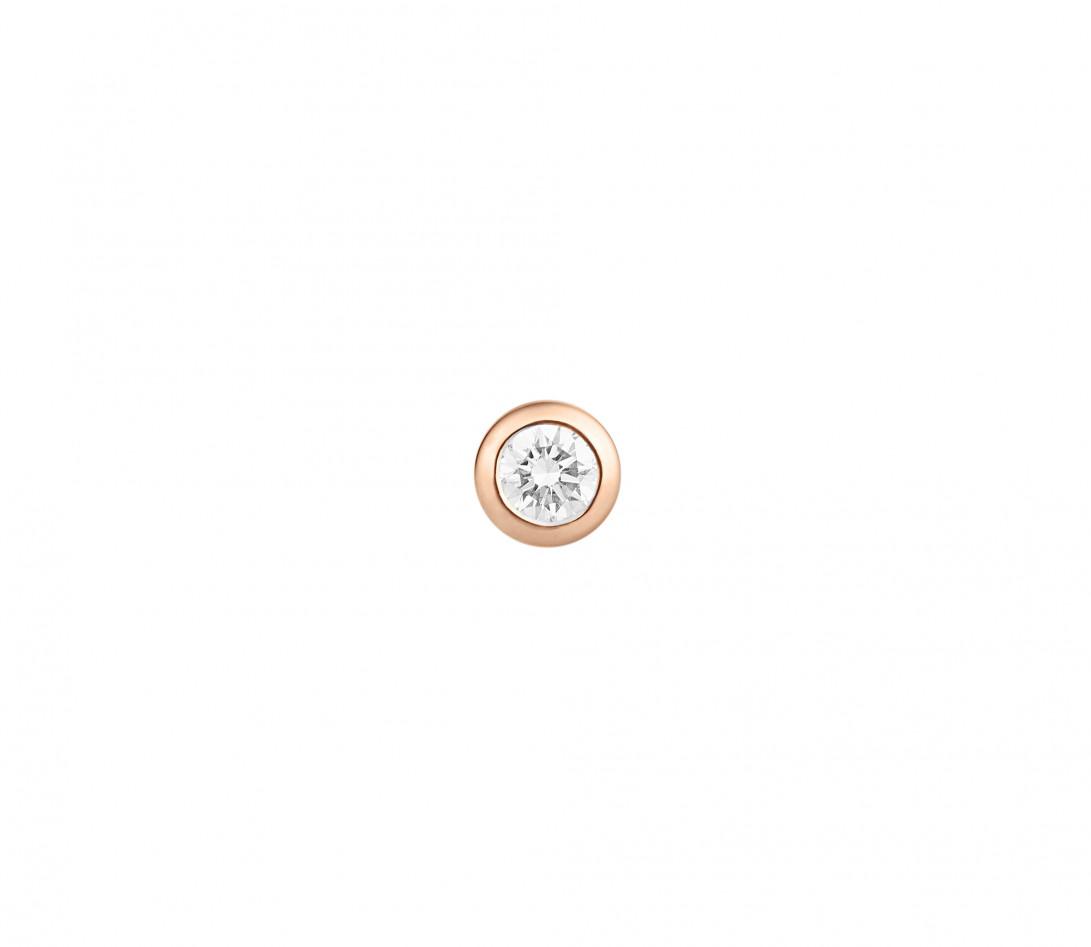 Mono boucle d'oreille puce ORIGINE en or rose 18K recyclé et diamant de synthèse 0,05ct - Courbet - Vue 2