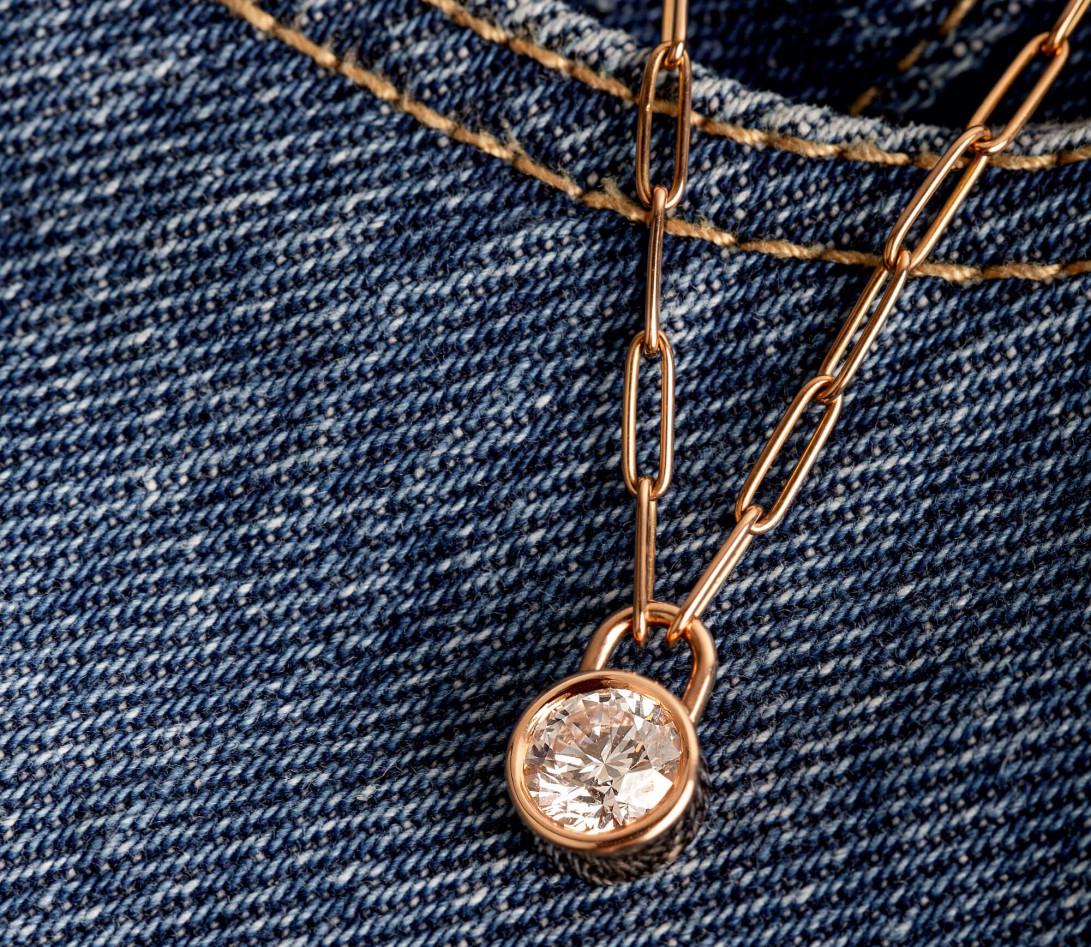 Collier Pont des Arts - Or rose 18K (5,80 g), diamant 1,34 ct - Vue 5