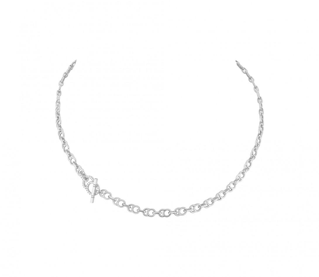 Collier chaîne CELESTE 43cm fermoir pavé en or blanc - P2