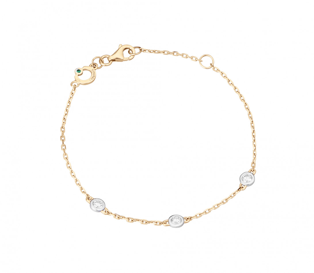 Bracelet Origine - Or jaune - 3 diamants - 0,3 cts - Rond