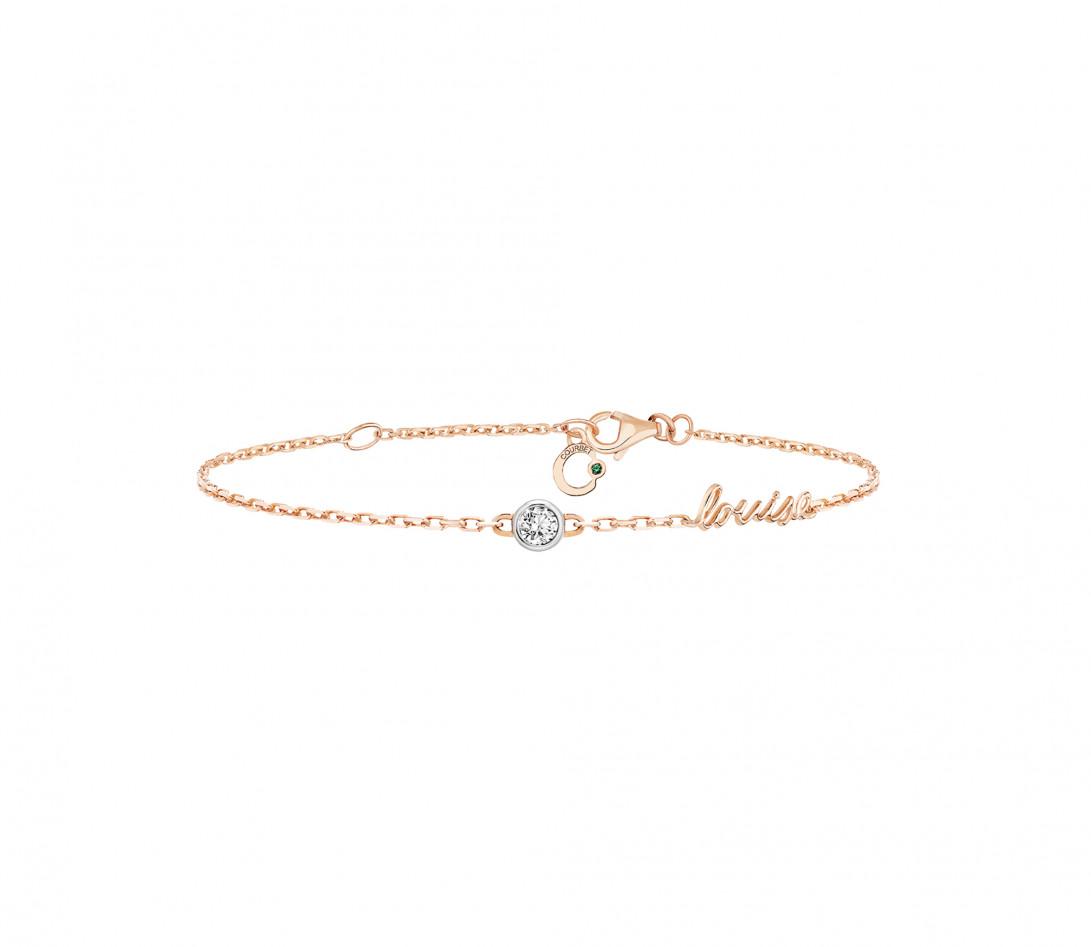 Bracelet chaîne ORIGINE 1 motif serti personnalisé en or rose 18K - Courbet - Vue 1