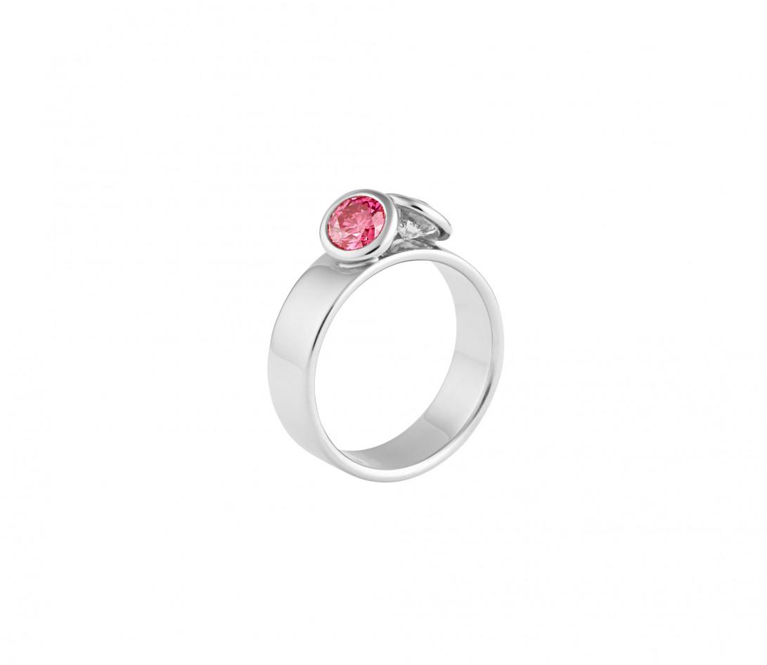 Bague 2 Courbet - Or blanc 18K (7,00g), 2 diamants (1 rose) 1ct - Vue 1