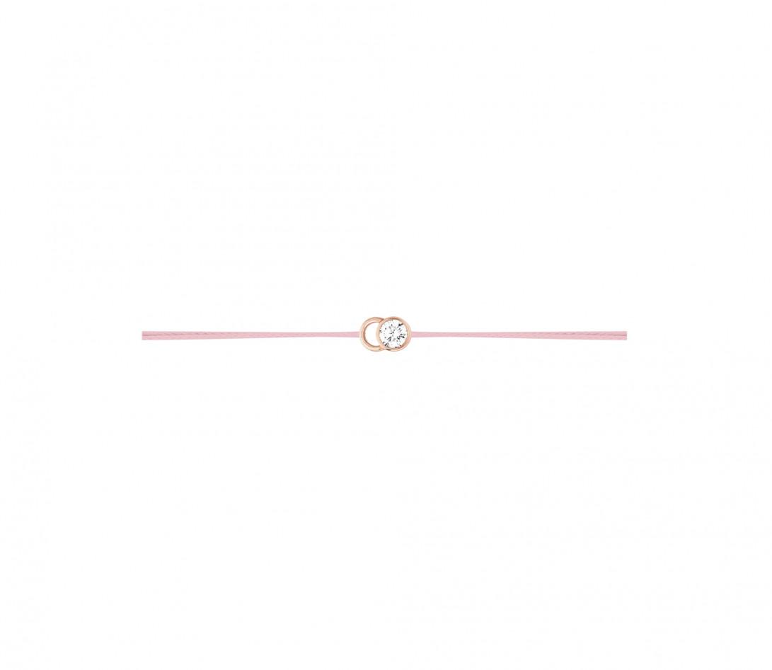 Bracelet cordon LET'S COMMIT rose ballerine en or rose - Profil