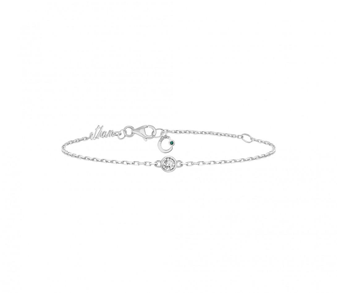 Bracelet chaîne ORIGINE 1 motif serti personnalisé en or blanc 18K - Courbet - Vue 4