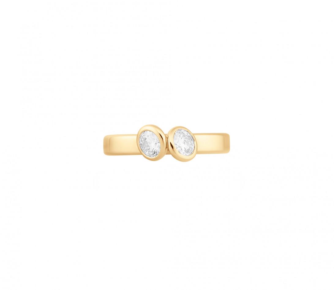 Bague 2 Courbet - Or jaune 18K (3.50), 2 diamants 1ct - Vue 3
