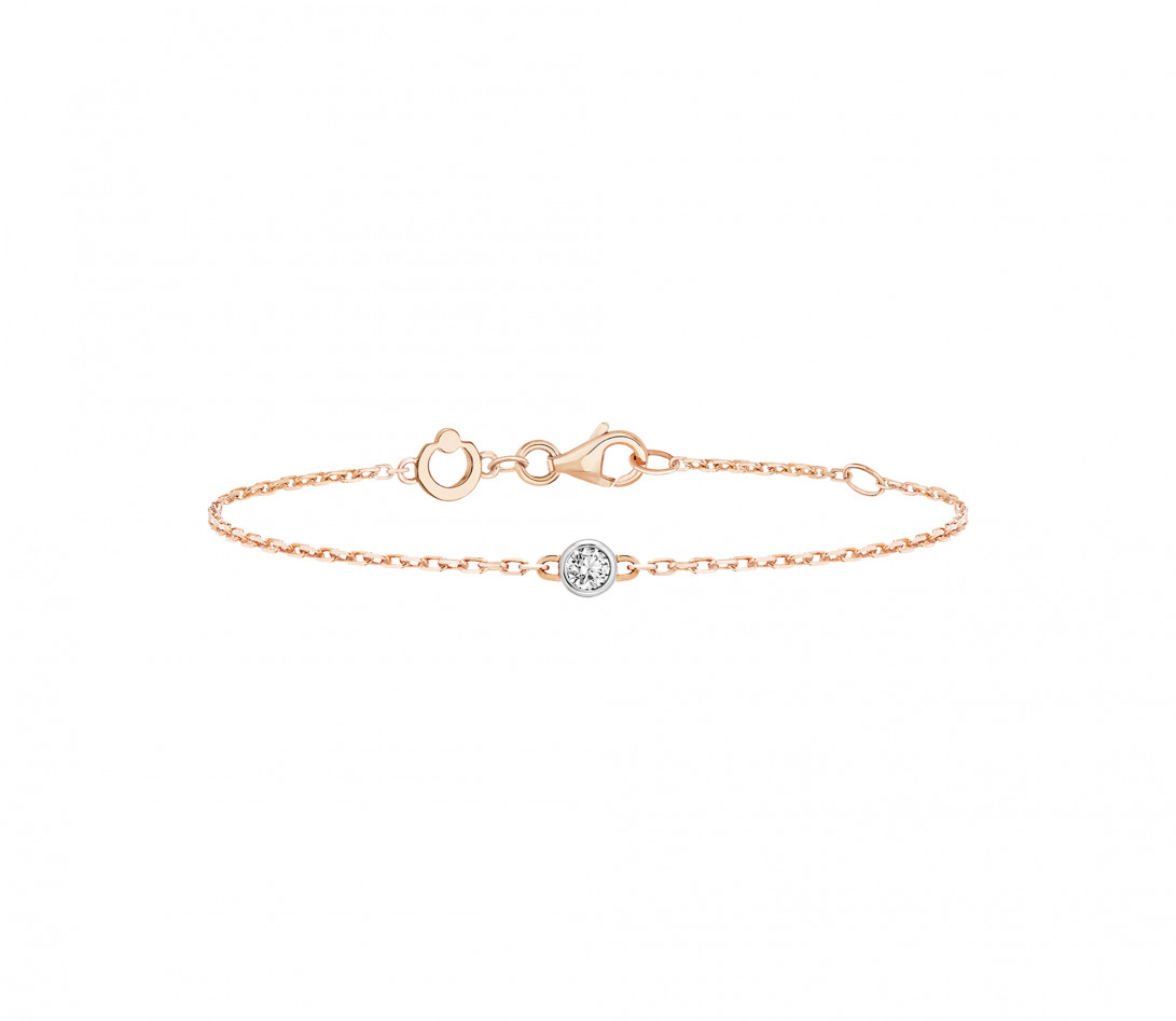 Bracelet chaîne ORIGINE 1 motif serti en or rose - Courbet - Face