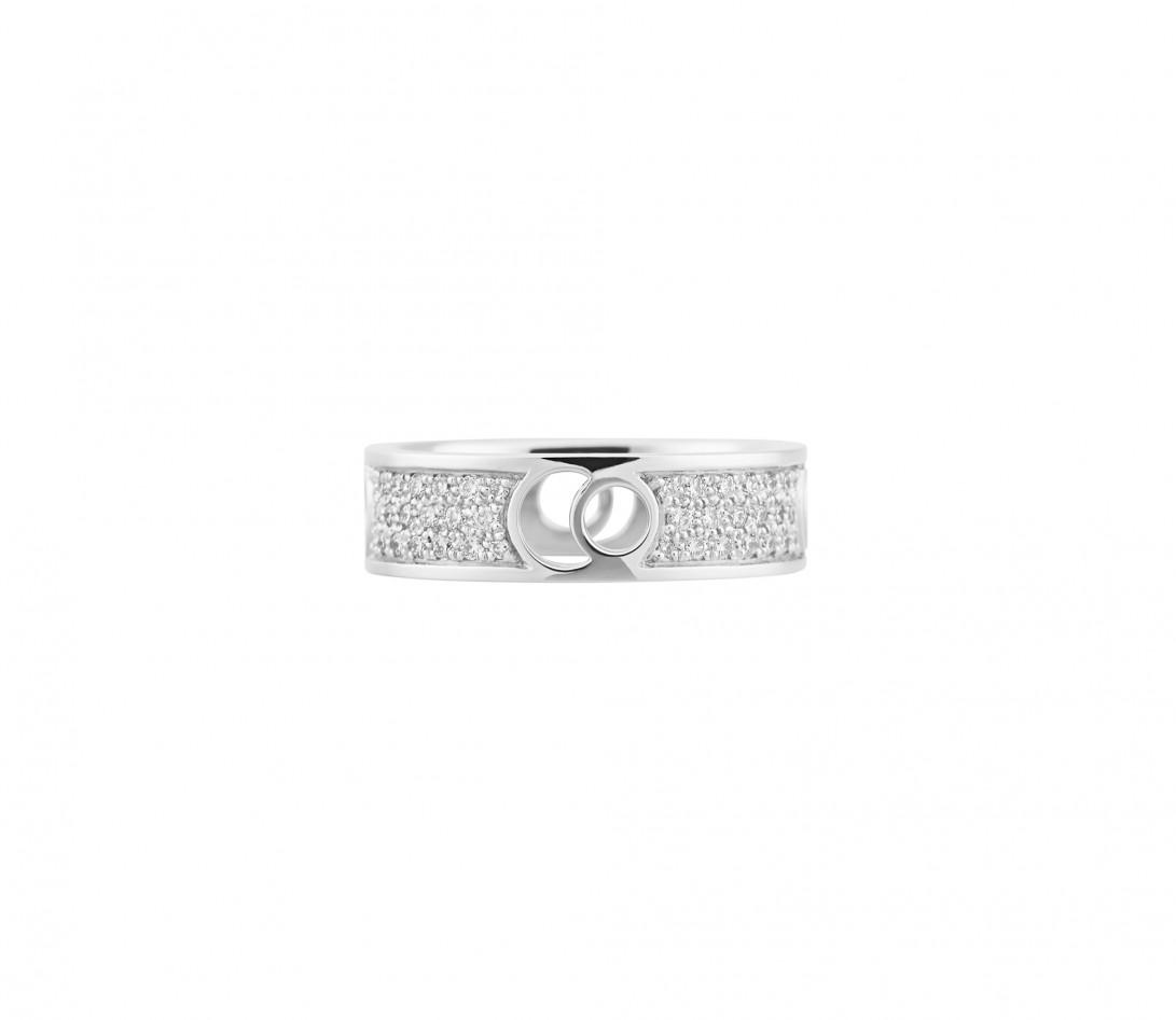 Bague Eclipse grand modèle - Or blanc 18K (7,80 g), diamants 0,70 ct - Face