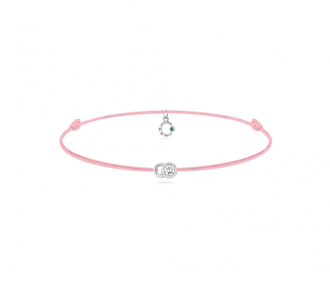 Bracelet cordon LET'S COMMIT rose ballerine en or blanc - Face