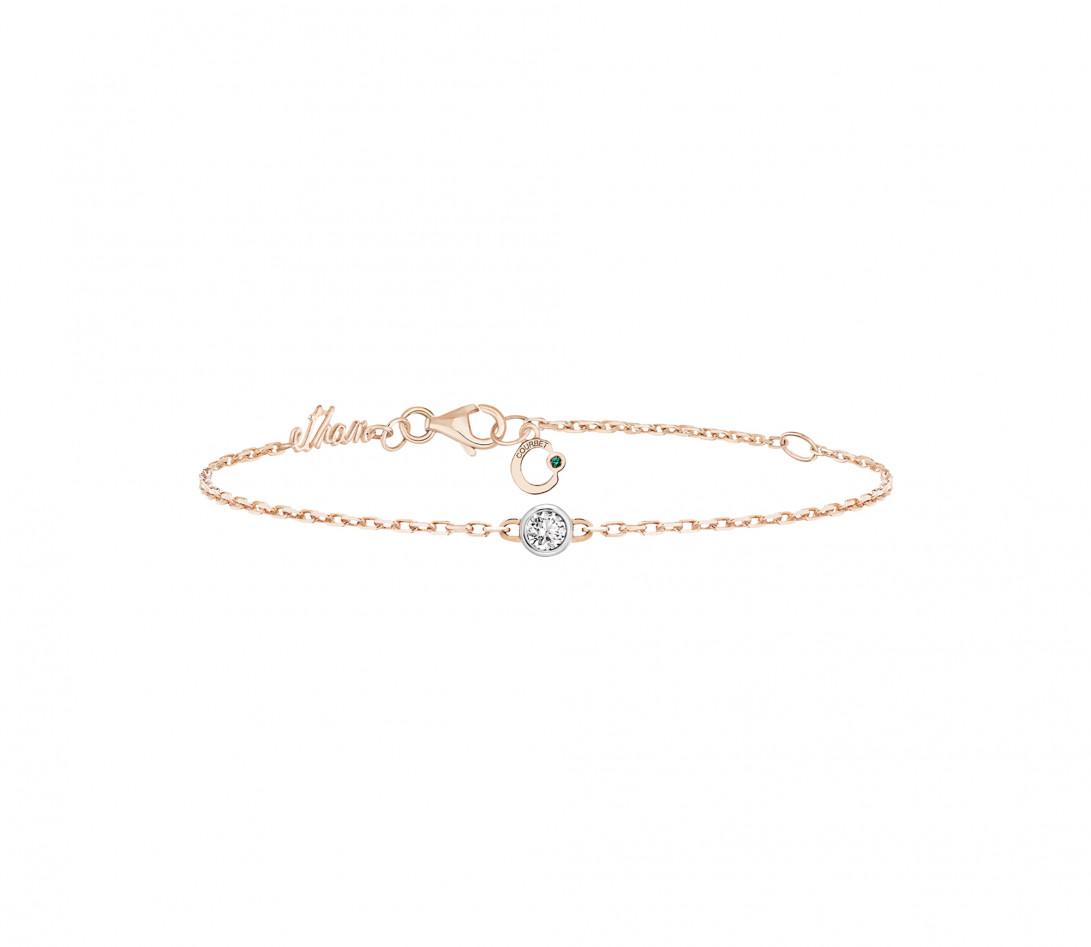 Bracelet chaîne ORIGINE 1 motif serti personnalisé en or rose 18K - Courbet - Vue 4