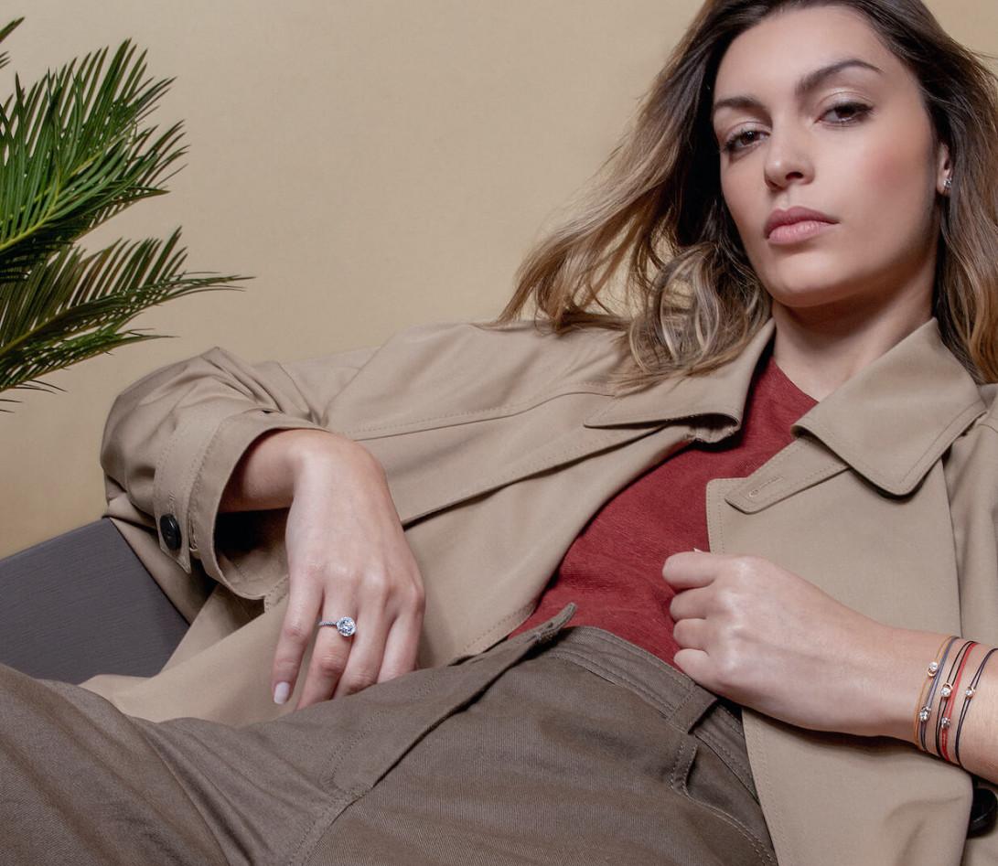 Bracelet cordon LET'S COMMIT jaune maya en or rose - Porté 1