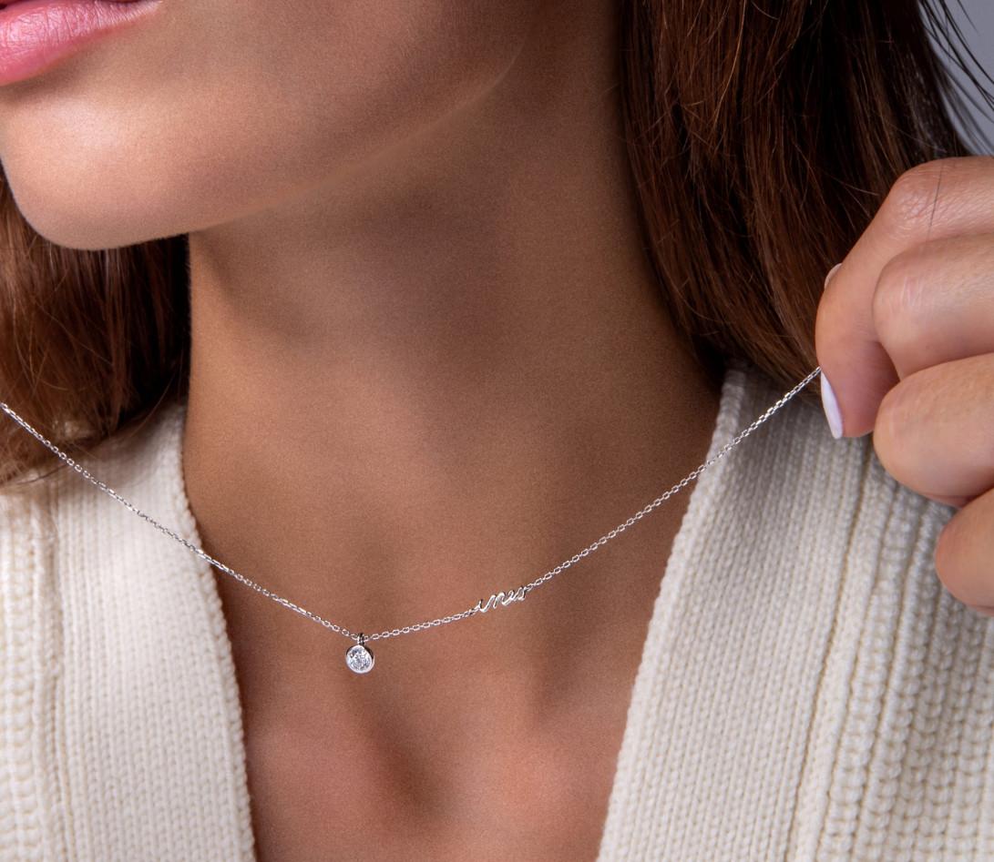 Collier Origine personnalisé - Or blanc 18K (1,70 g), diamants 0,3 cts - Vue 5