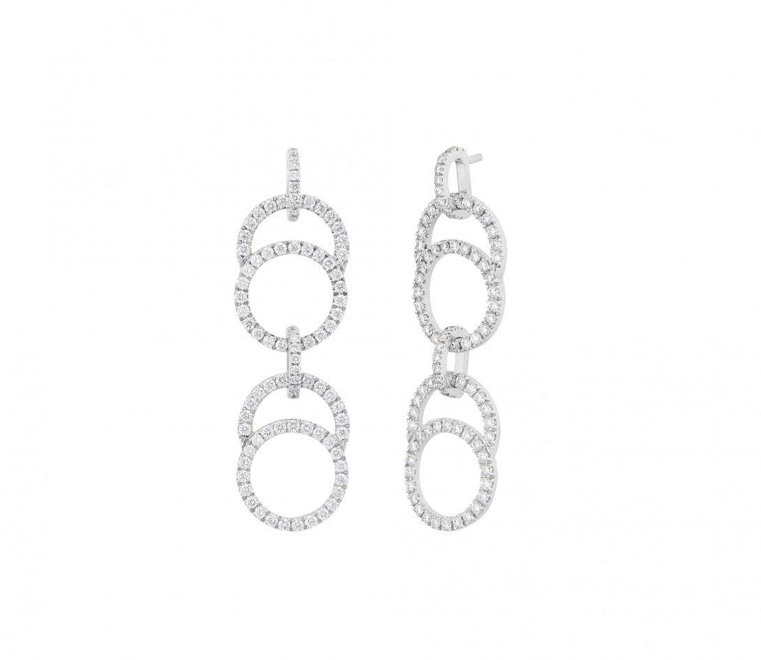Boucles d'oreilles pendantes CELESTE pavées double en or blanc 18K recyclé et diamants de synthèse - Courbet - Vue 1