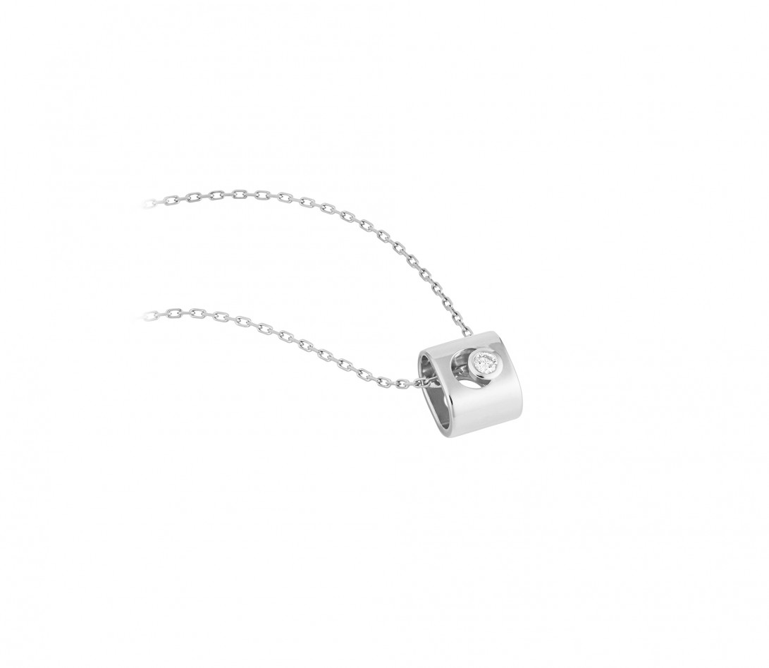 Collier Eclipse - Or blanc 18K (6,30 g), diamant 0,1 ct - Vue 2