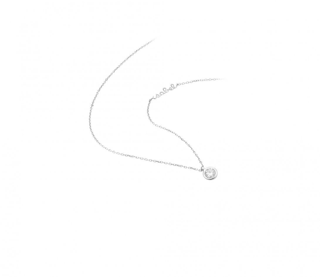 Collier Origine personnalisé - Or blanc 18K (1,70 g), diamants 0,3 cts - Vue 2