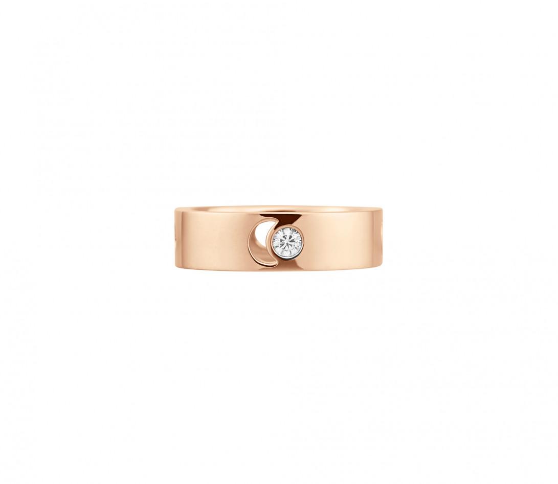 Bague Eclipse grand modèle - Or rose 18K (7,80 g), diamant 0,10 ct - Face