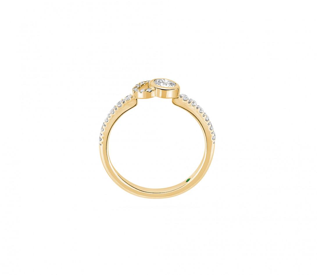 Bague CO demi pavée - Or jaune 18K, diamants synthétiques - Vue 3