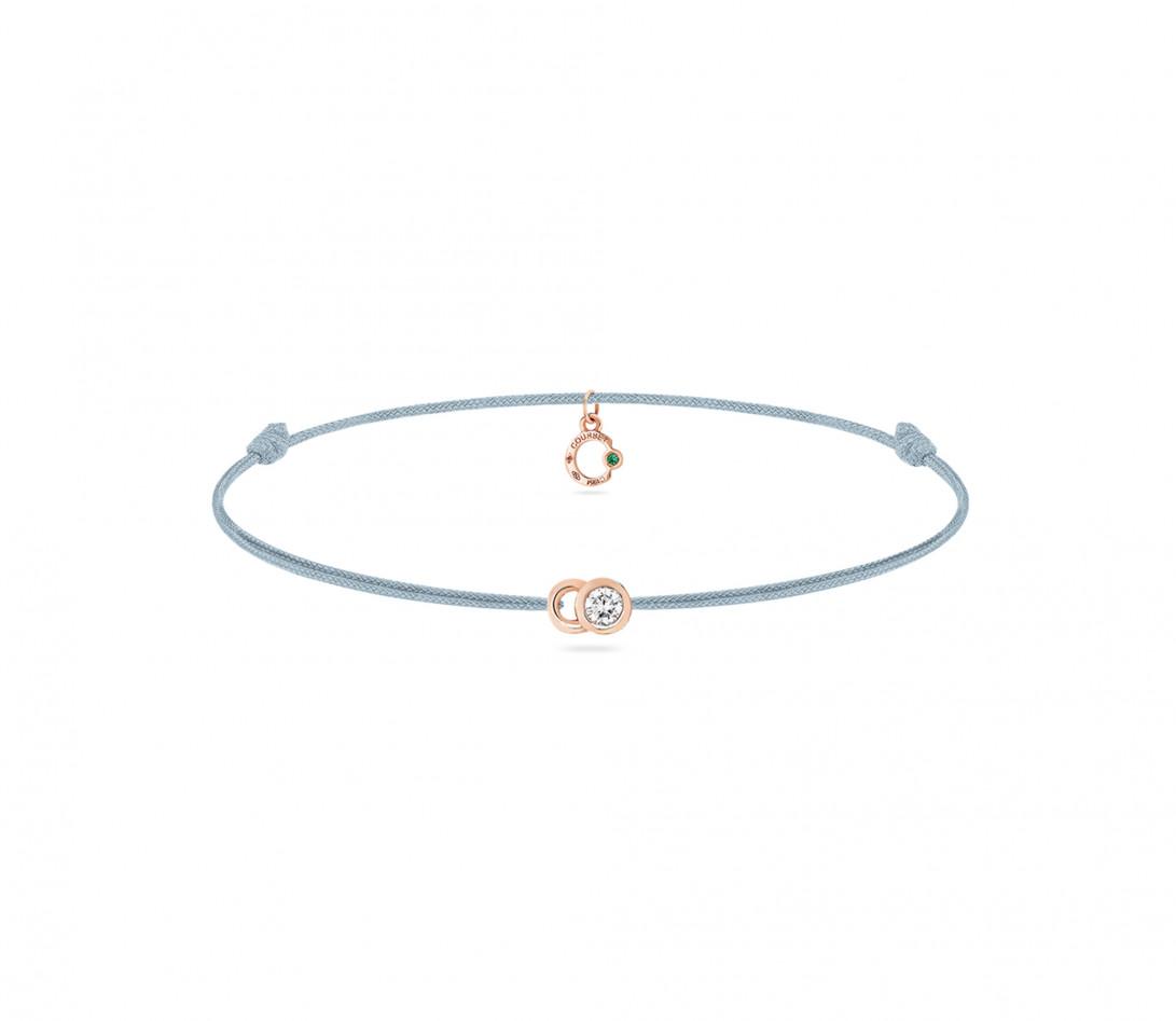 Bracelet cordon LET'S COMMIT bleu nuage en or rose - Face