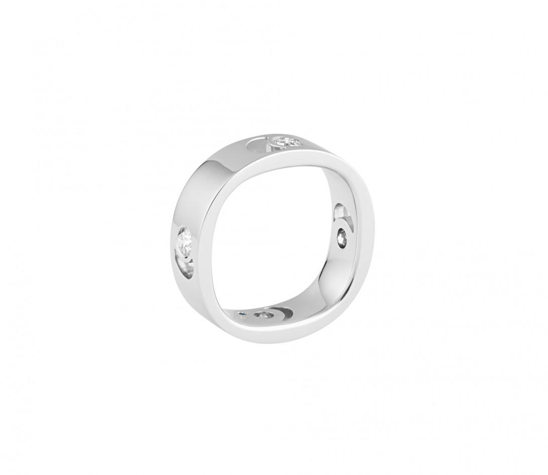 Bague Eclipse grand modèle - Or blanc 18K (7,80 g), 4 diamants 0,40 ct - Vue 3