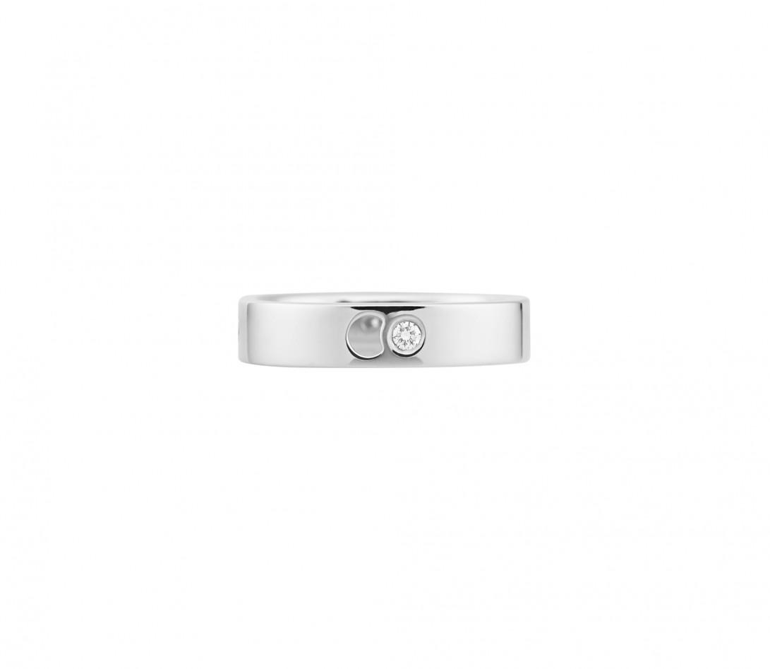 Bague Eclipse petit modèle - Or blanc 18K (4,20 g), 4 diamants 0,12 ct - Face