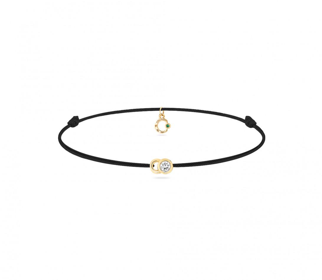 Bracelet cordon LET'S COMMIT noir carbone en or jaune - Face