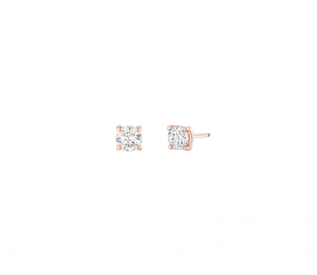 Puces d'oreilles quatre griffes - Or rose 18K (2,00 g), diamant 0,6 ct