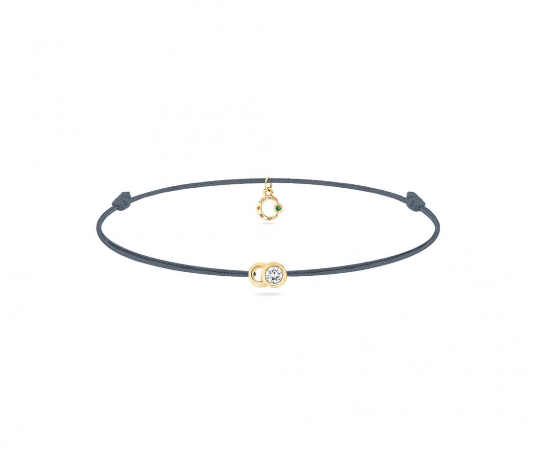 Bracelet cordon LET'S COMMIT bleu orage en or jaune - Face