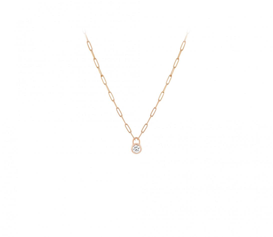 Collier Pont des Arts - Or rose 18K (5,80 g), diamant 1,34 ct - Face