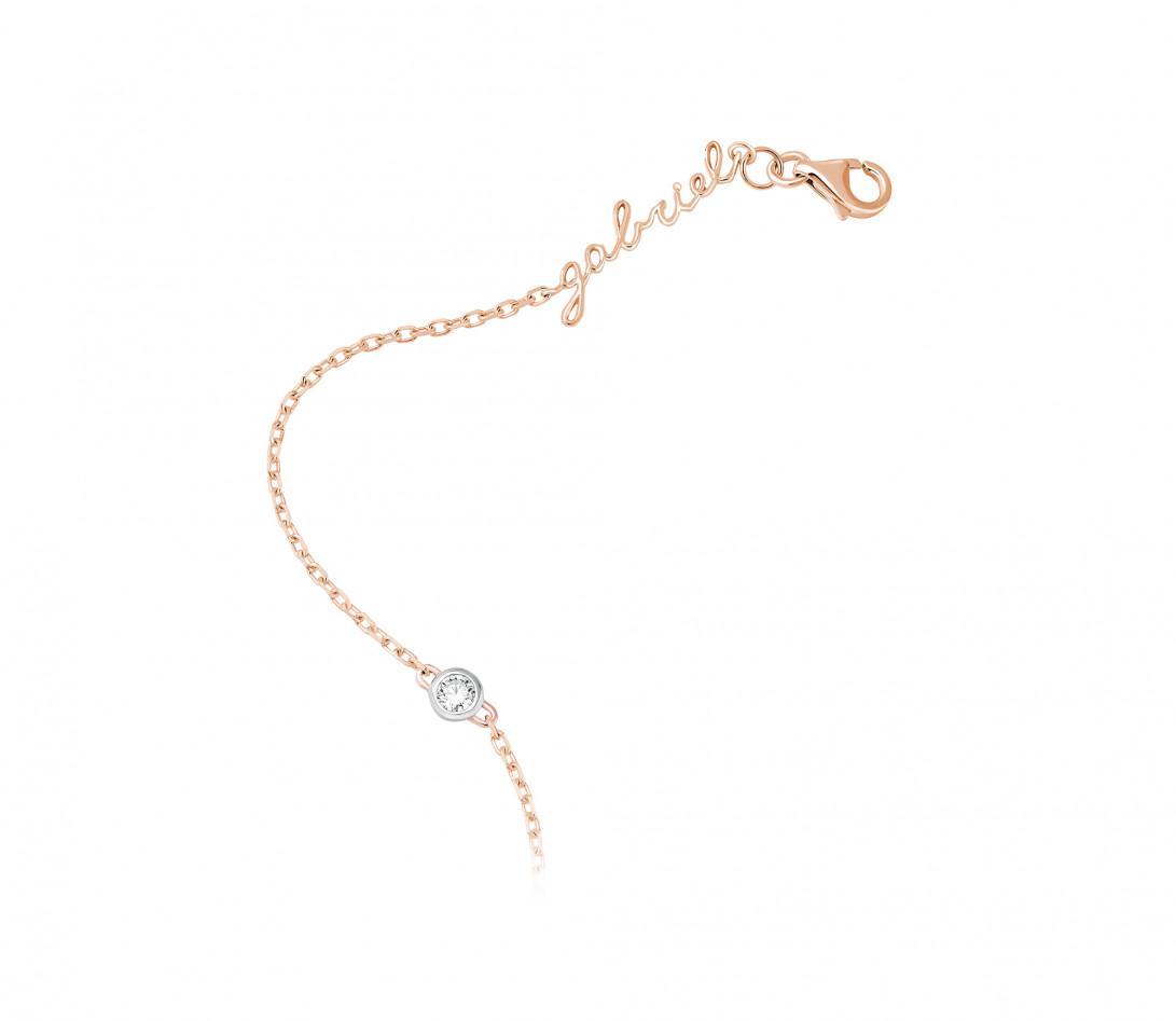 Bracelet chaîne ORIGINE 1 motif serti personnalisé en or rose 18K - Courbet - Vue 3