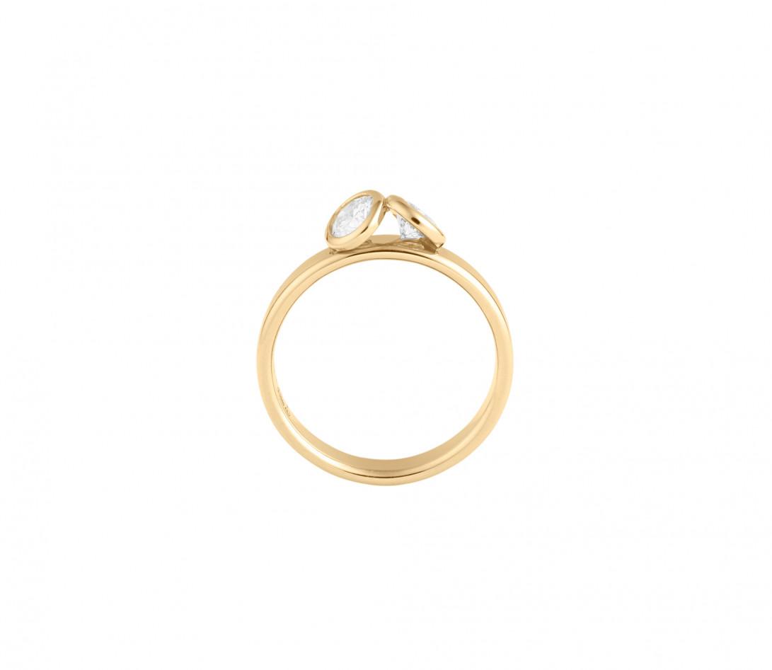 Bague 2 Courbet - Or jaune 18K (3.50), 2 diamants 1ct - Vue 2