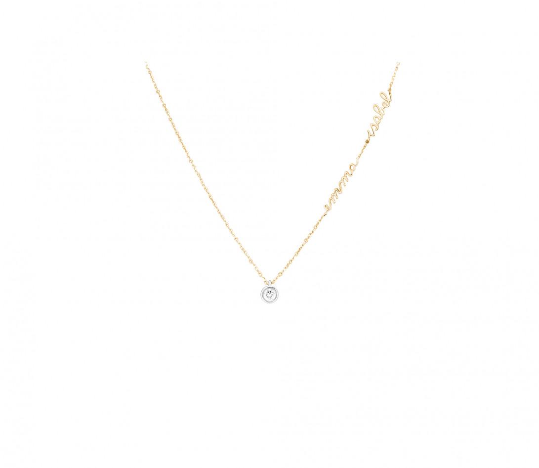 Collier ORIGINE personnalisé 2 prénoms en or jaune 18K et diamants de synthèse - Courbet - Porté