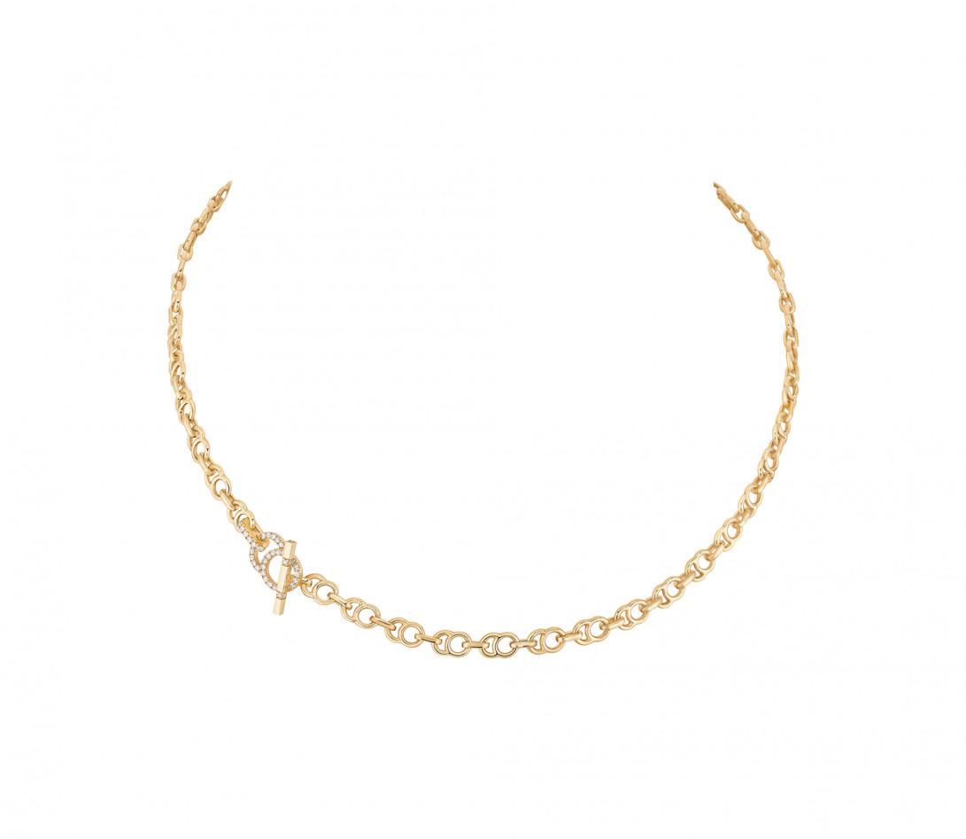 Collier chaîne CELESTE 38cm fermoir pavé en or jaune - P1