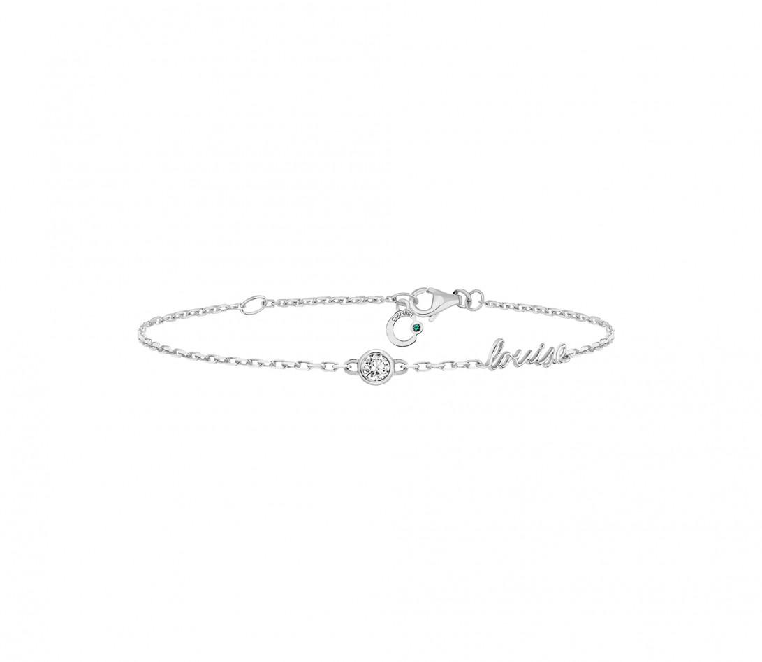 Bracelet chaîne ORIGINE 1 motif serti personnalisé en or blanc 18K - Courbet - Vue 1