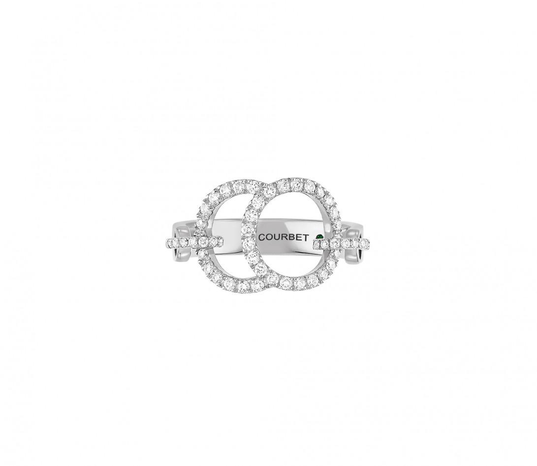 Bague Celeste - Or blanc 18K (5,20 g), diamants 0,50 ct - Face
