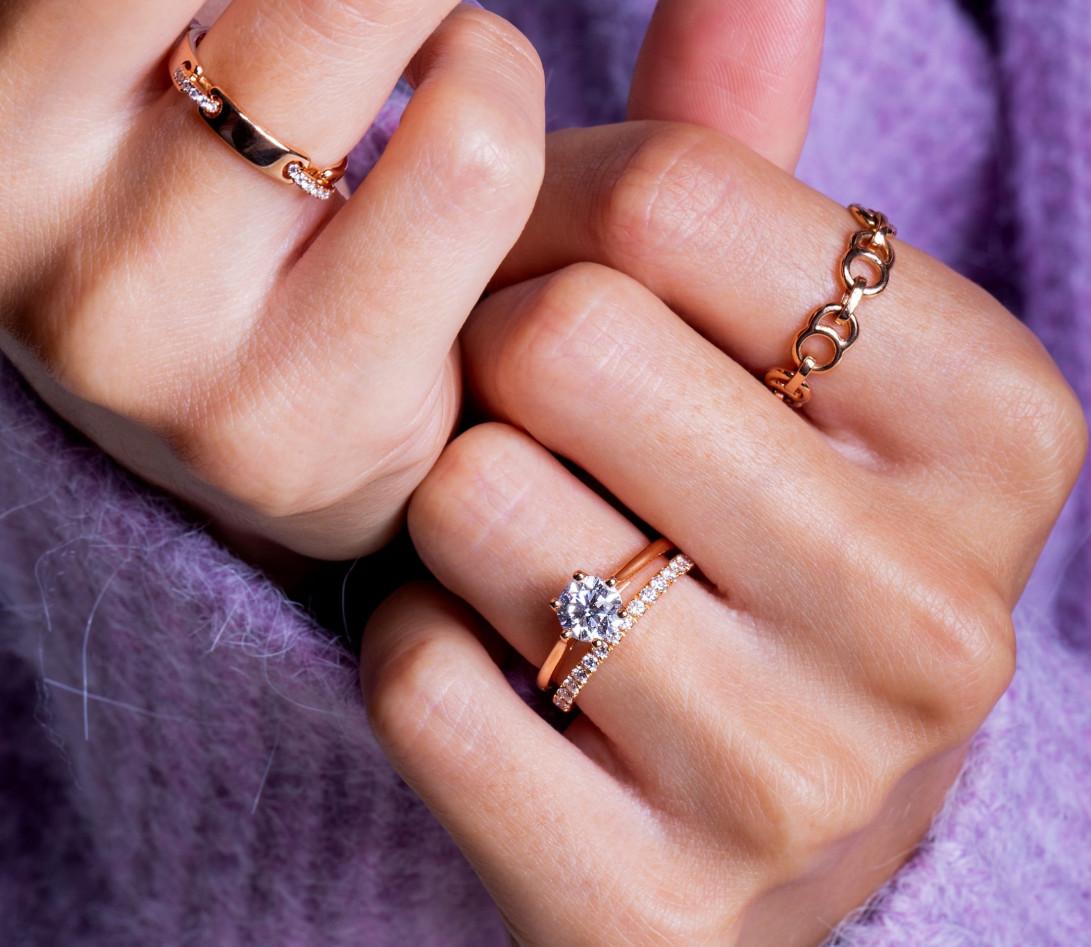 Bague Or Rose et Diamants 0,15 ct - Céleste - Courbet - Vue 6