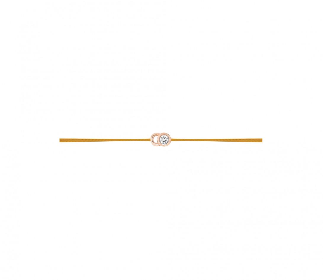Bracelet cordon LET'S COMMIT jaune maya en or rose - Profil
