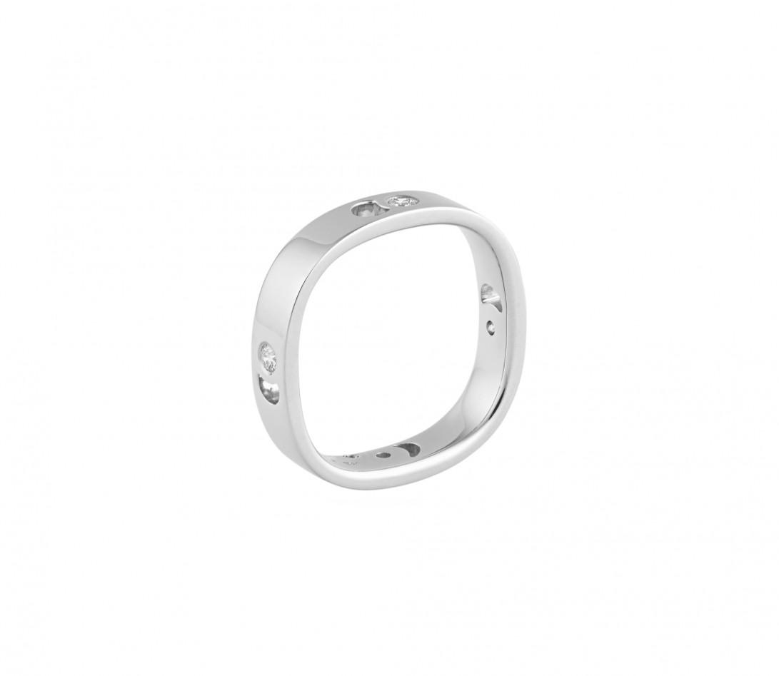 Bague Eclipse petit modèle - Or blanc 18K (4,20 g), 4 diamants 0,12 ct - Vue 3