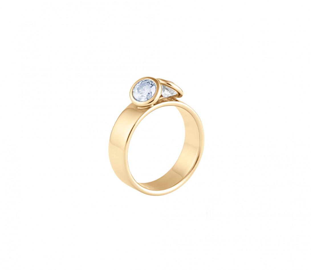 Bague 2 Courbet - Or jaune 18K (7,00g), 2 diamants (1 bleu) 1ct - Côté