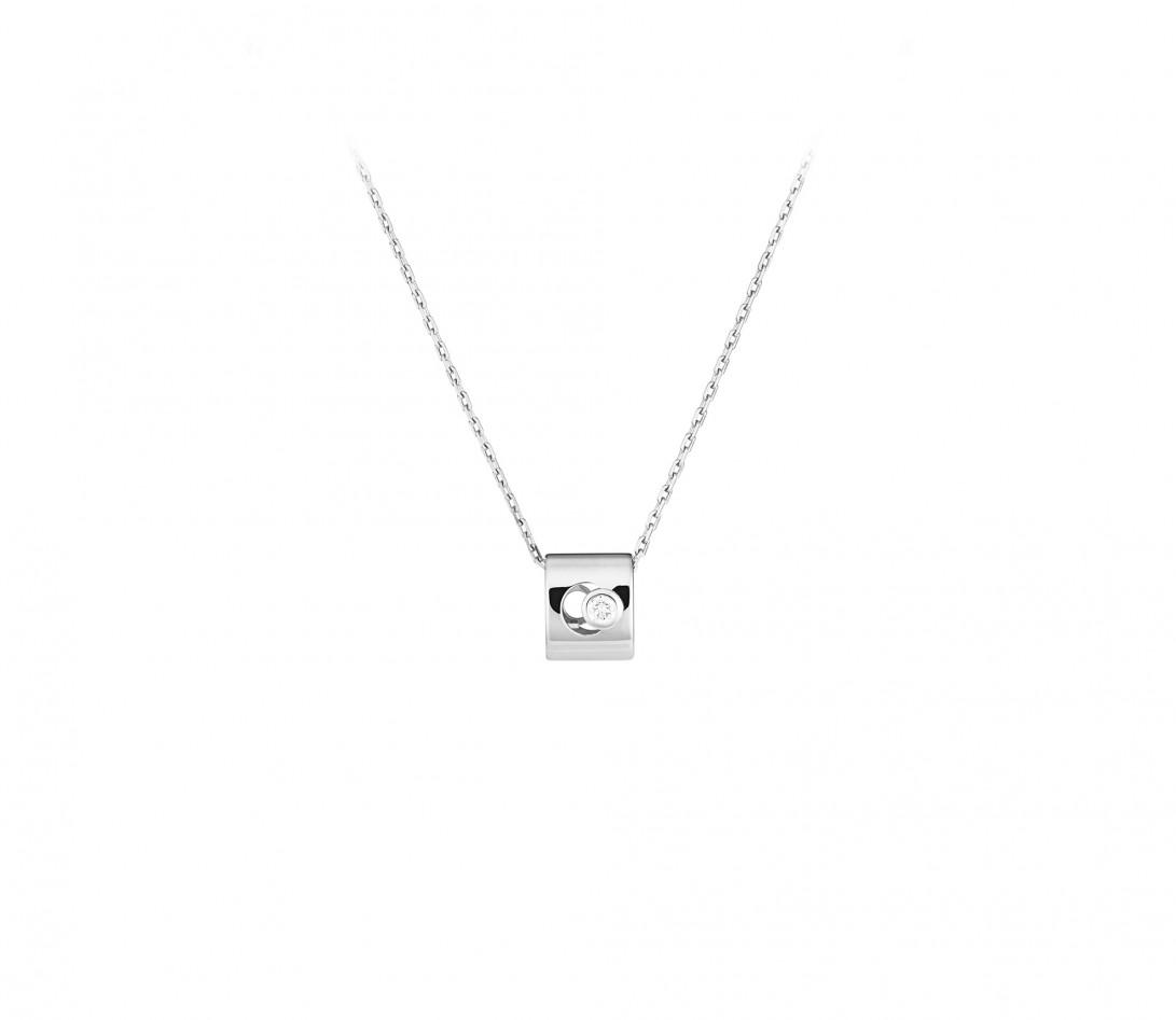 Collier Eclipse - Or blanc 18K (6,30 g), diamant 0,1 ct - Vue 1