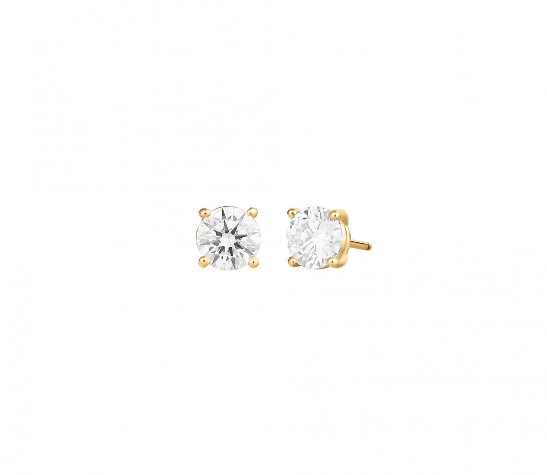Puces d'oreilles quatre griffes - Or jaune 18K (2,00 g), diamant 1,4 ct