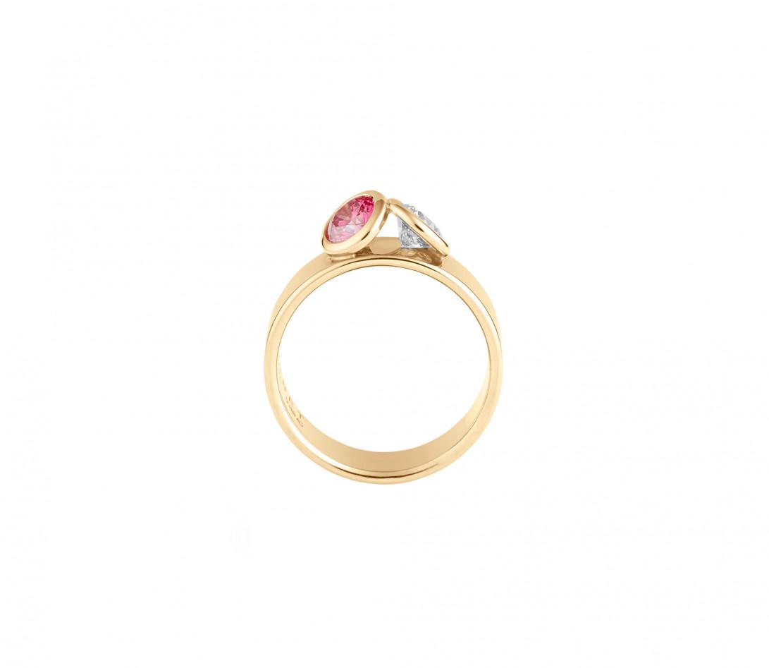 Bague 2 Courbet - Or jaune 18K (7,00g), 2 diamants (1 rose) 1ct - Vue 2