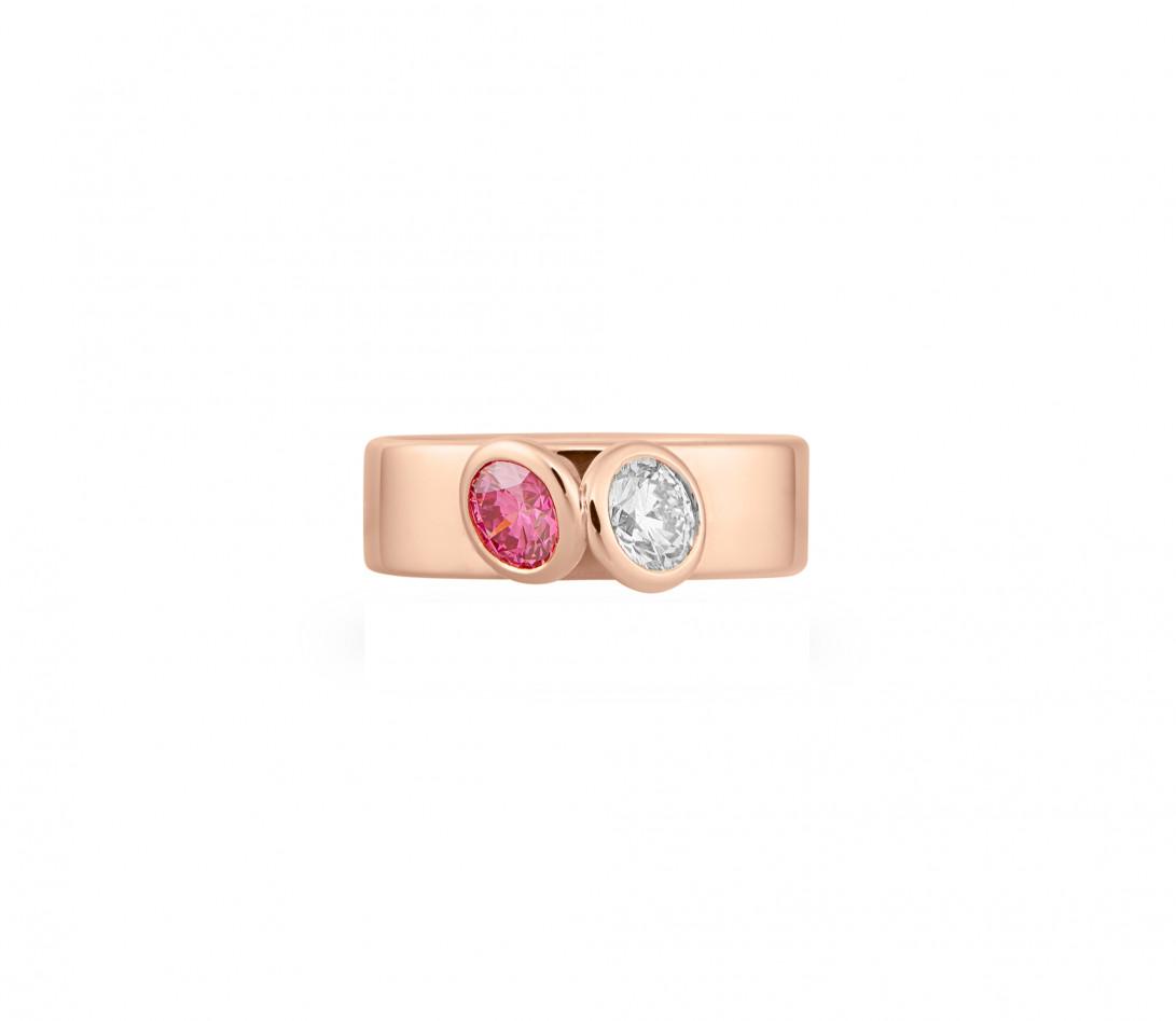 Bague 2Courbet - Or rose 18K (7,00 g),  diamant 1 carat - Vue 3