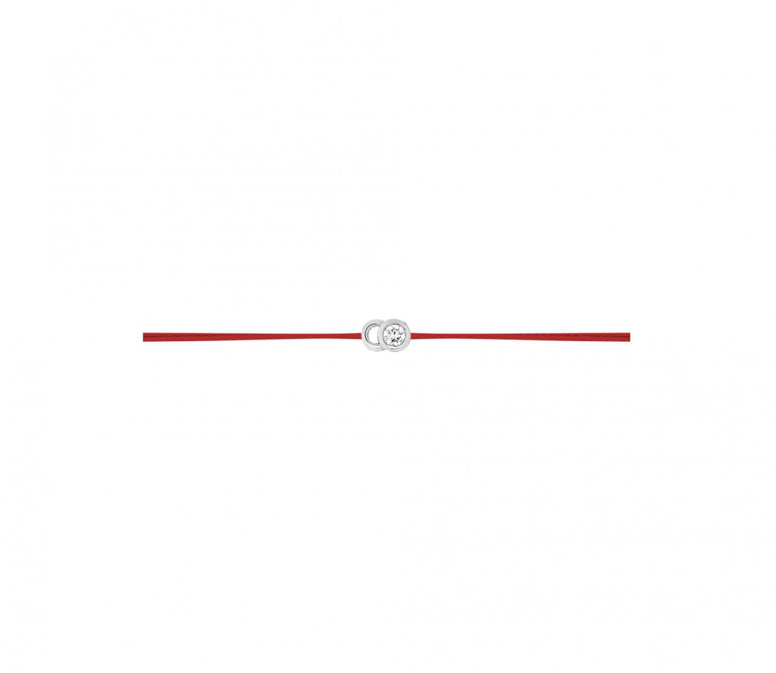 Bracelet cordon LET'S COMMIT rouge carmin en or blanc - Profil