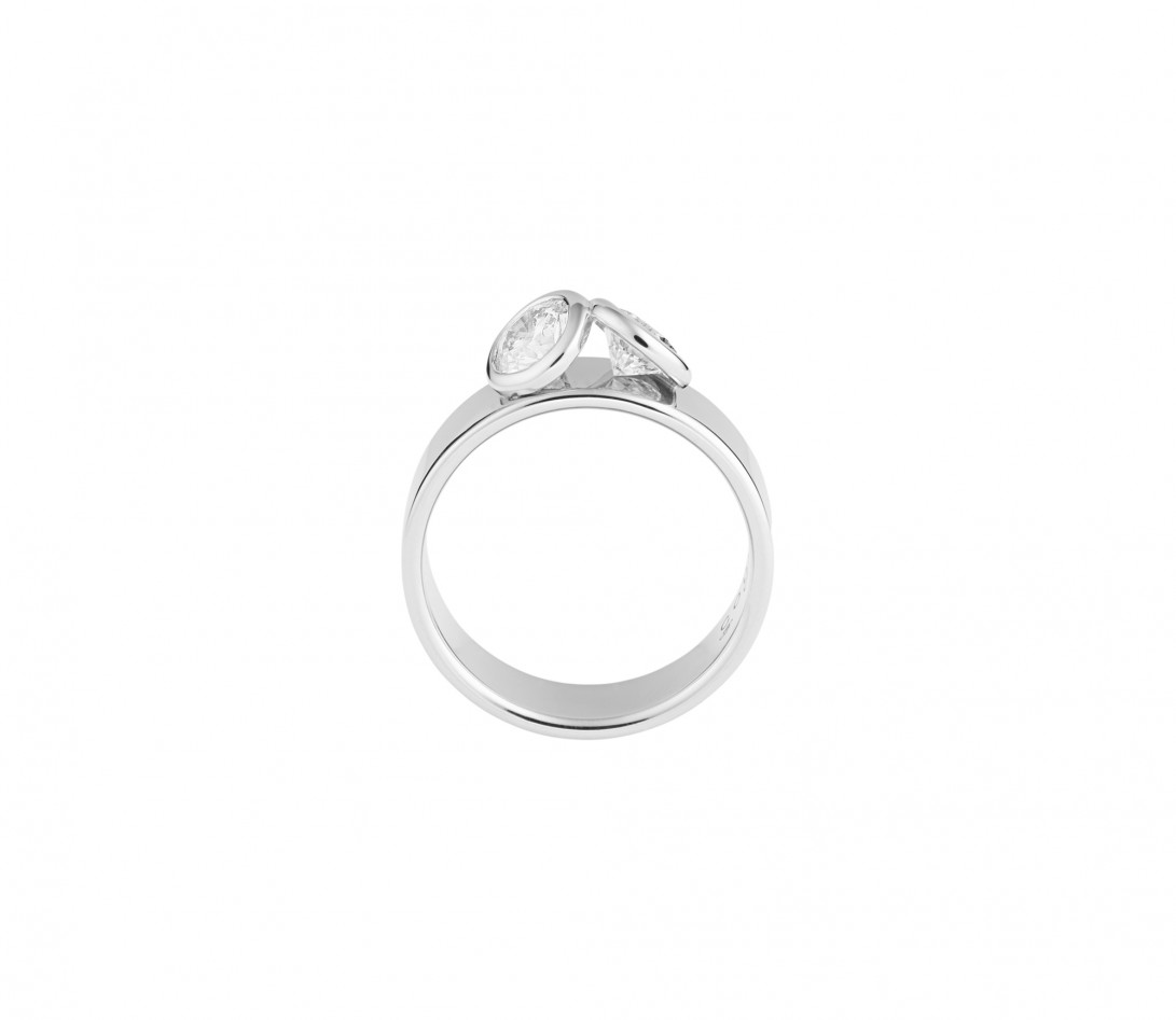 Bague 2 Courbet - Or blanc 18K (7,00g), 2 diamants 1ct - Vue 2