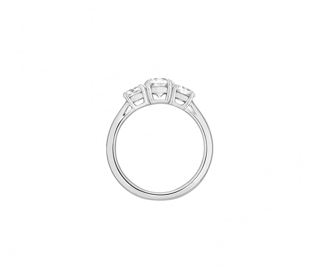 Bague solitaire Trio - Or blanc 18K (4,30 g), 3 diamants 1,45 cts - Profil