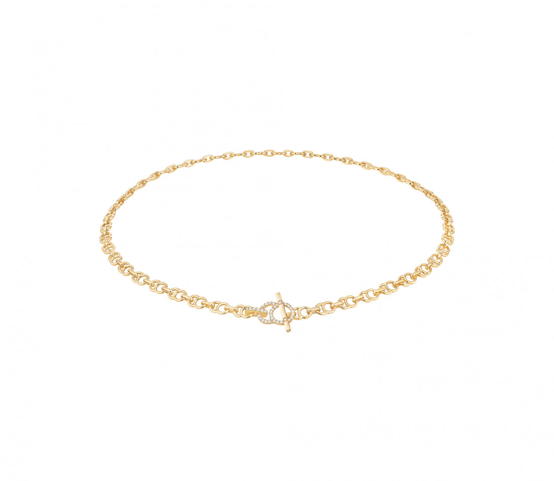 Collier chaîne CELESTE 43cm fermoir pavé en or jaune - P1