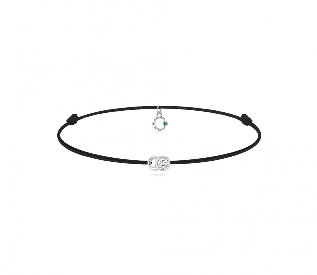 Bracelet cordon LET'S COMMIT noir carbone en or blanc - Face