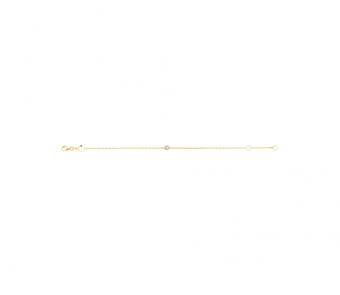 Bracelet chaîne ORIGINE 1 motif serti en or jaune - Courbet - Côté