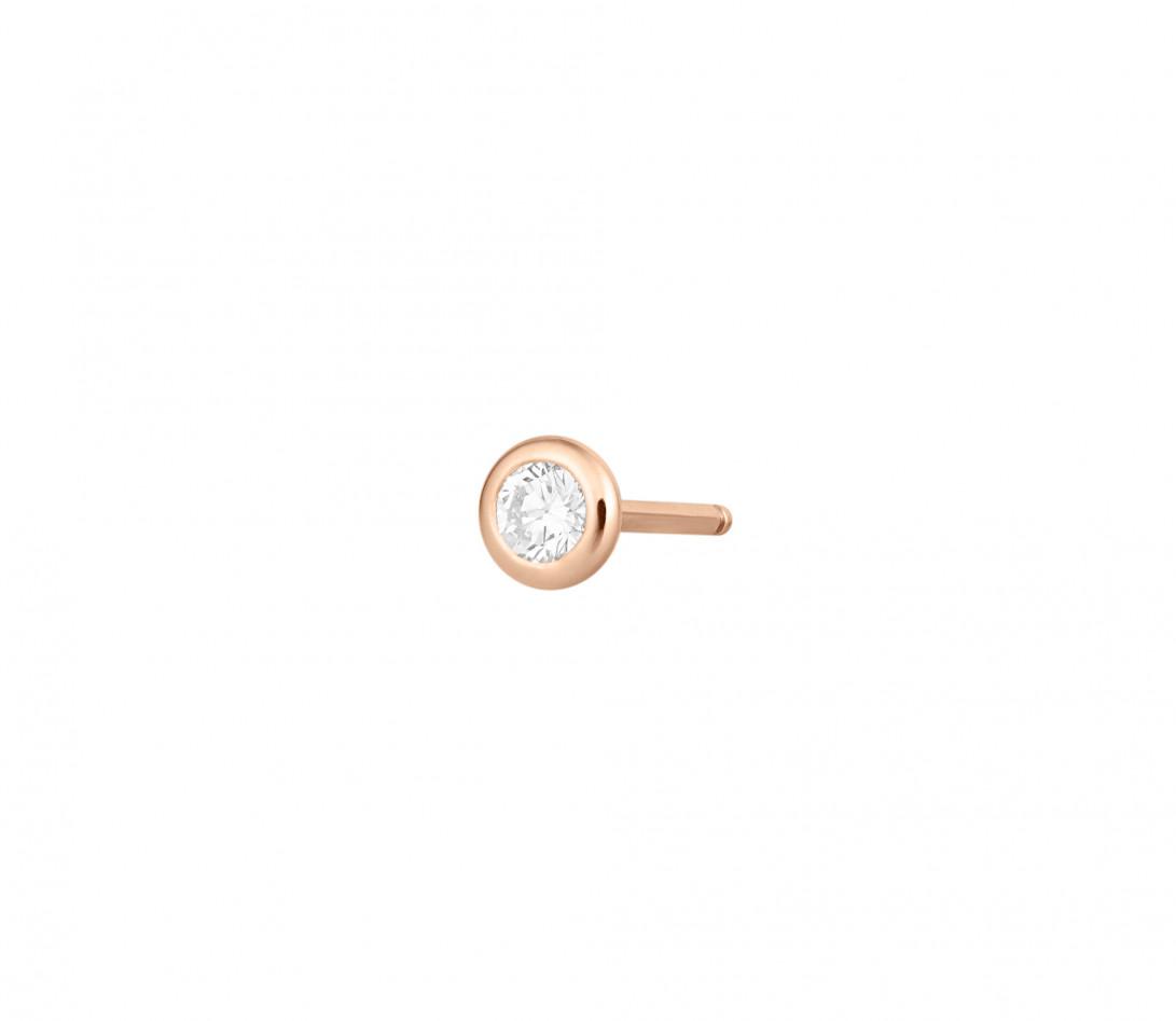 Mono boucle d'oreille puce ORIGINE en or rose 18K recyclé et diamant de synthèse 0,05ct - Courbet - Vue 1