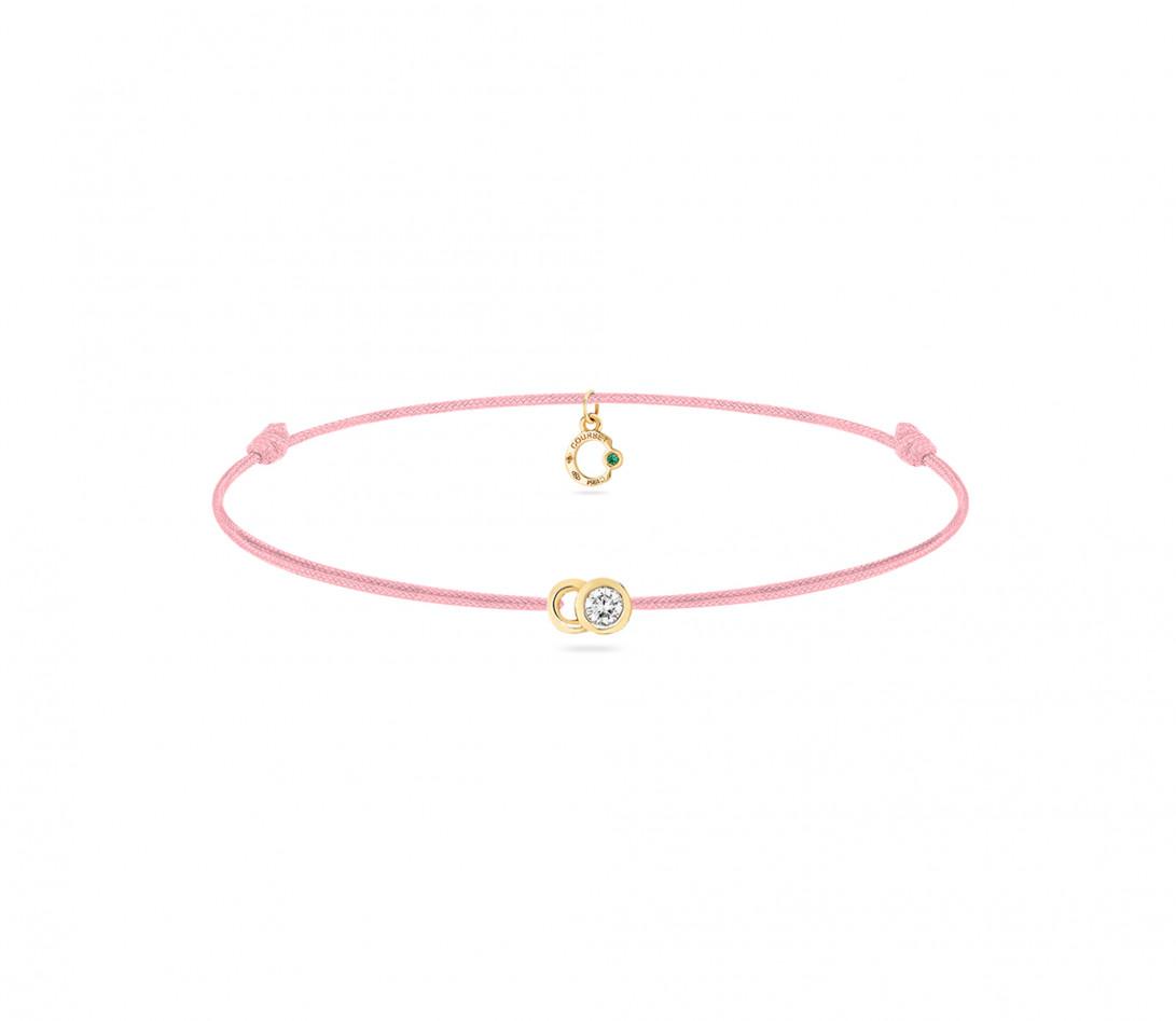 Bracelet cordon LET'S COMMIT rose ballerine en or jaune - Face